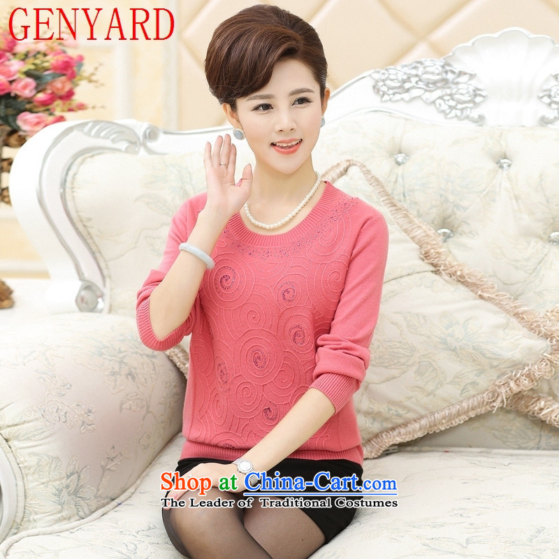 Genyard new woolen sweater in spring and autumn, forming the Netherlands mother older middle-aged women with large long-sleeved light Sweater Knit-pink?3XL 145-165 catty