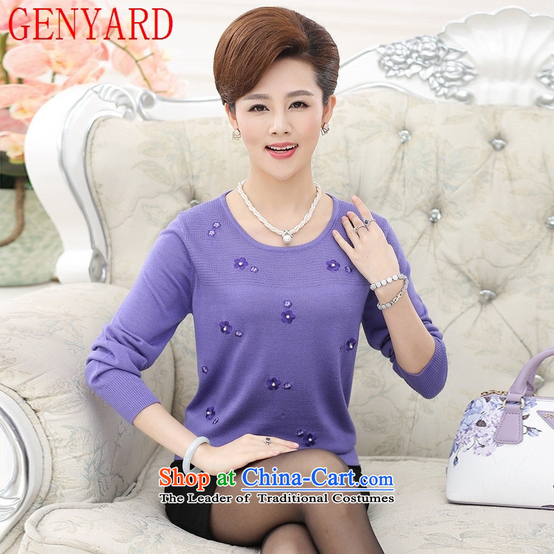 New products in the autumn GENYARD older women sweater older persons with the fall of mother with relaxd 40-50-year-old middle-aged knitwear orange?XL_ recommendations 120-135 catty_