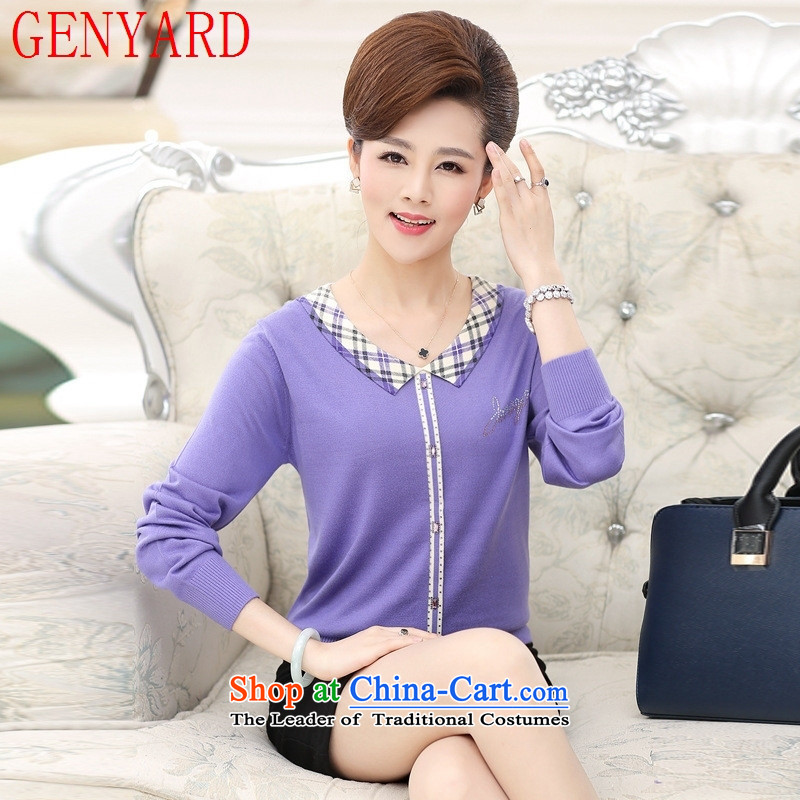 In the number of older women's GENYARD autumn new products long-sleeved knitted shirt and women to replace the autumn mother code T-shirts middle-aged ladies blouse leather pink?2XL catty Paras. 135-145
