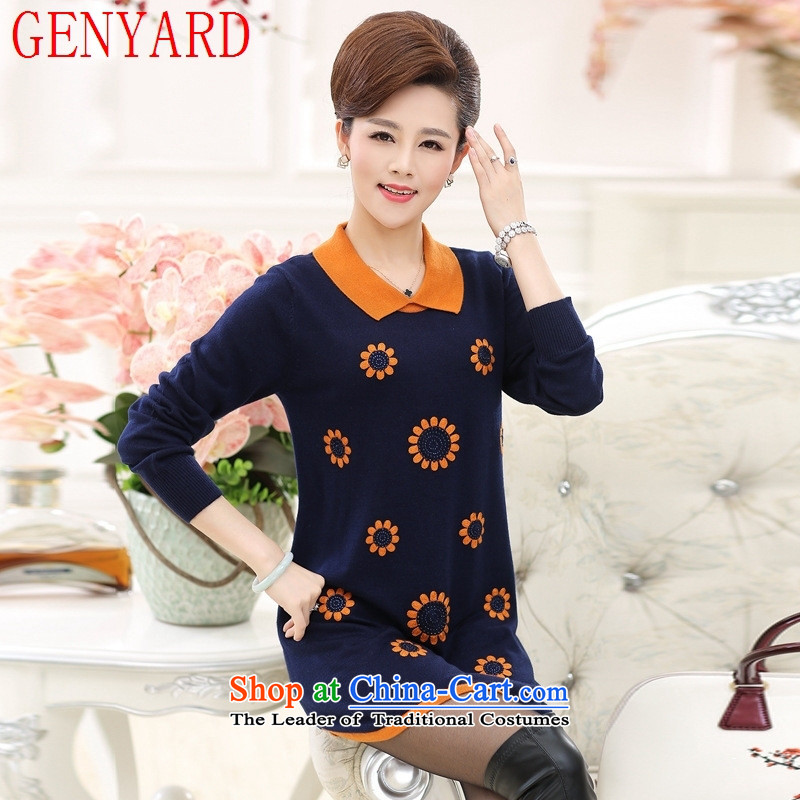 Replace the autumn GENYARD2015 mother in long long-sleeved sweater in older women's new autumn flip neck knitted dresses navy?L recommendations 90-120 catties)