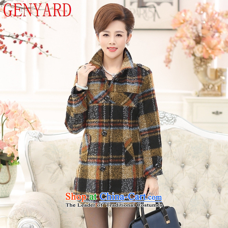 The autumn and winter with middle-aged GENYARD new mother coat)? In long large segments of the Sau San Mao jacket coat women? Light Yellow?4XL