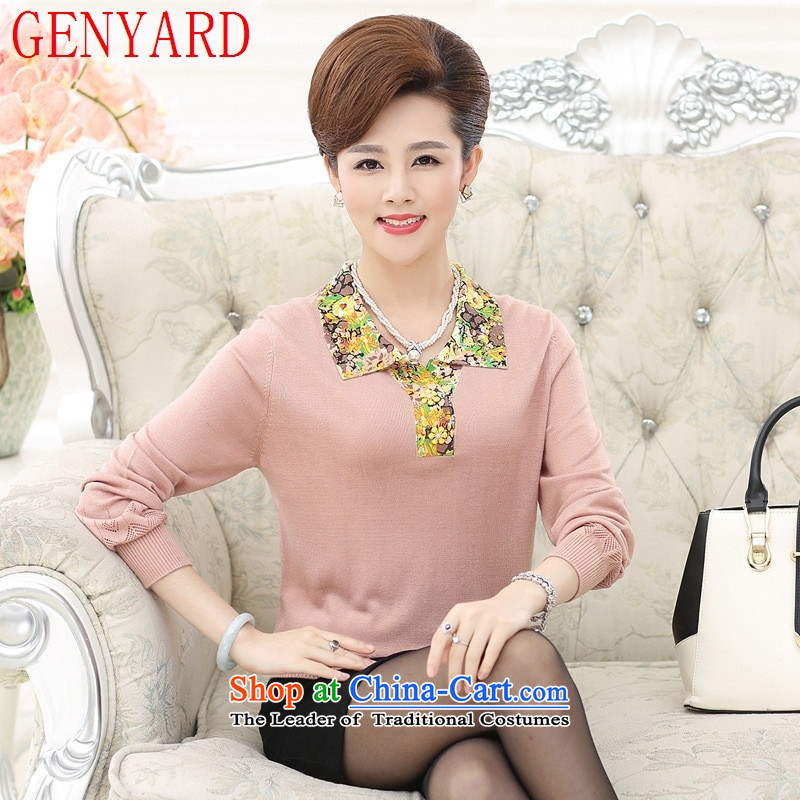 The fall in the number of older GENYARD long-sleeved T-shirt 40-50-year-old Knitted Shirt with mother lapel T-shirt with the middle-aged women fall woolen sweater light pink?L recommendations 105-120 catties)