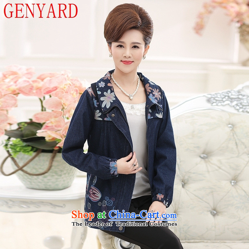 New products in the autumn GENYARD2015 Older Women's jacket mother replacing autumn replacing cardigan older persons aged 40-50 Denim blue shirt?XL
