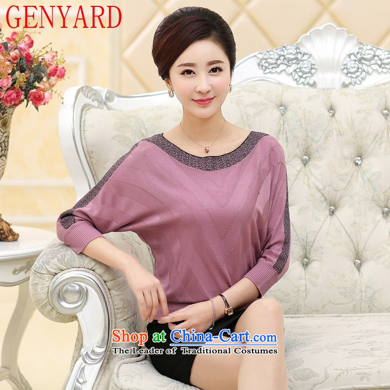 Summer stylish mother GENYARD replacing older, forming the new middle-aged women aged defects of the Netherlands bat sleeves T-shirt autumn purple?2XL catty Paras. 135-145