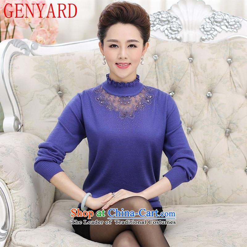 In the number of older women's GENYARD2015 autumn large Knitted Shirt with mother boxed long-sleeved sweater, forming the basis for middle-aged female sweater red shirt?M