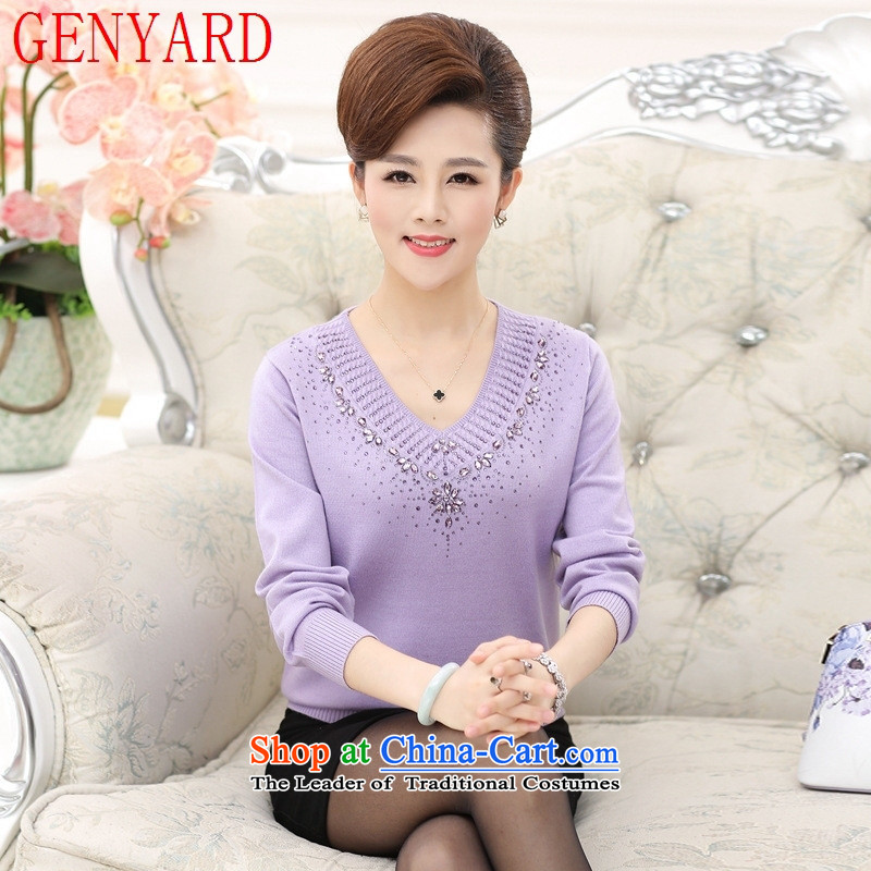 In the number of older women's GENYARD V-Neck knitted shirts, forming the hedging of the middle-aged long-sleeved sweater mother load woolen sweater load autumn bourdeaux?2XL