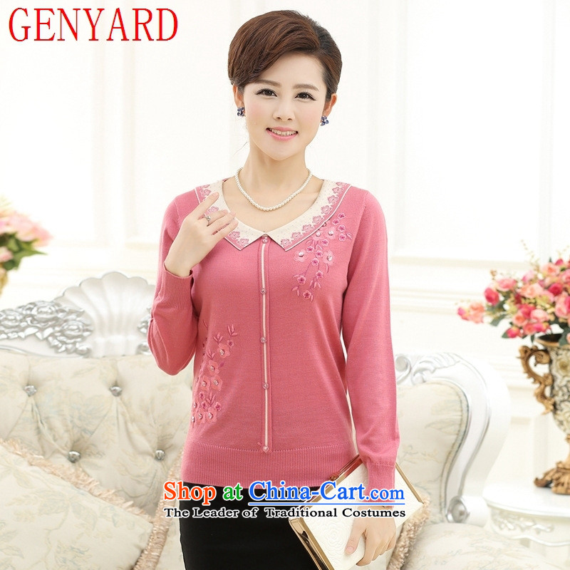 Load New GENYARD2015 autumn of older persons in the mother Knitted Shirt sweater middle-aged women summer loose long-sleeved sweater light purple recommendations 145-165 catty