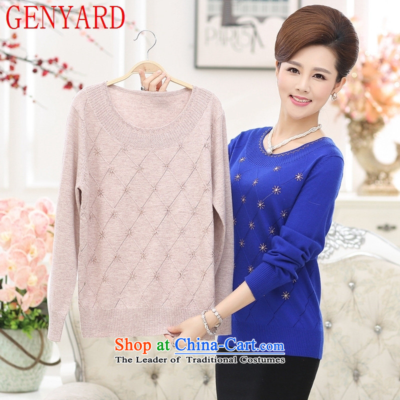 In the number of older women's GENYARD new autumn Knitted Shirt with large long-sleeved mother middle-aged 40-50 autumn and winter clothes and color, forming the women?XL?recommendations 125-135 catty