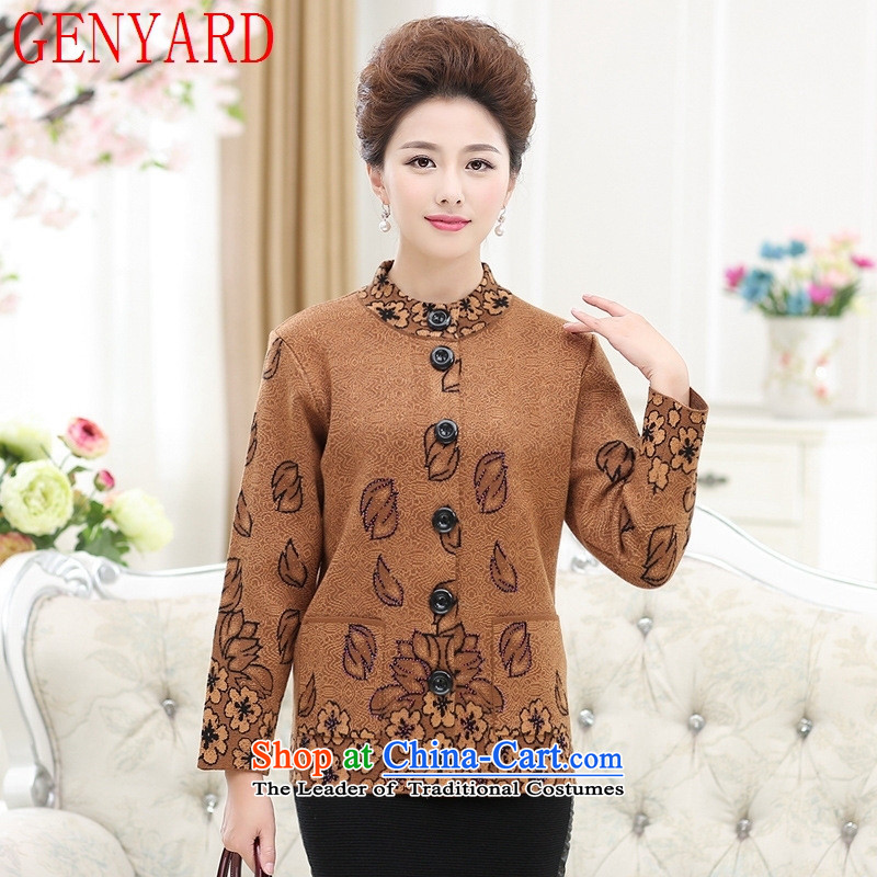 The elderly in the woolen sweater GENYARD women's mother loaded thick sweater cardigan elderly grandmothers replacing large dark red 3XL knitted jackets
