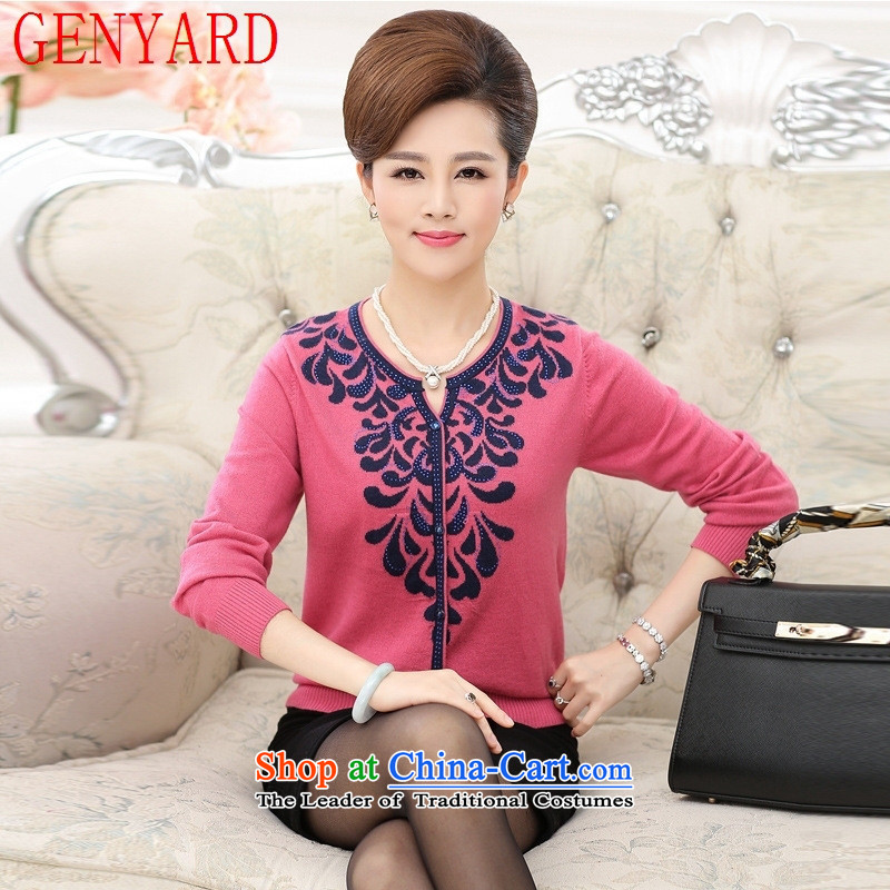 Load New GENYARD2015 autumn mother boxed long-sleeved T �� V-neck shirt, older women had darned knitting sweater thin coat pickles, forming the green?2XL catty Paras. 135-145