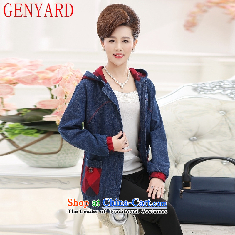 In the autumn of older women GENYARD thin coat of the middle-aged women's mother jackets low load grandma of older persons is a female jacket Denim blue聽2XL