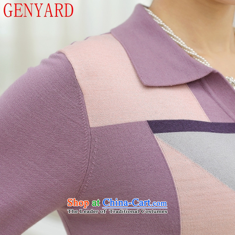 In the number of older women's GENYARD autumn knitted shirts T-shirt large middle-aged 40-50-year-old mother with stylish long-sleeved sweater greenXL,GENYARD,,, lapel shopping on the Internet