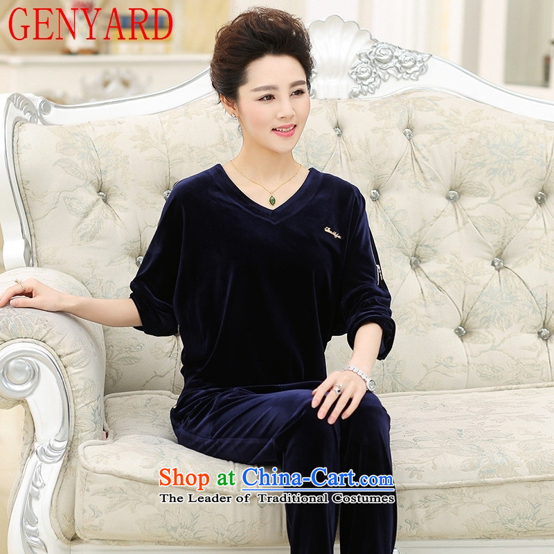 In the number of older women's GENYARD2015 autumn new leisure sports suits with large relaxd MOM pack middle-aged female blue?3XL( recommendations 130-145 catties)