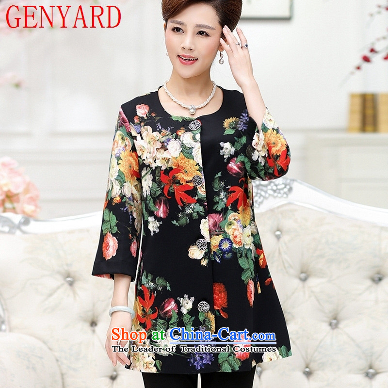 In the number of older women's GENYARD boxed long-sleeved shirt stamp autumn jacket middle-aged female wedding in large load mother Long Hoodie Black聽XL