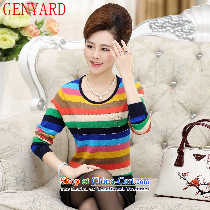 In the number of older women's GENYARD CHOO CHOO blouses middle-aged 40-50 years old code with knitwear mother large long-sleeved T-shirt rainbow colored 1 recommendations 145-160 3XL_ catties_