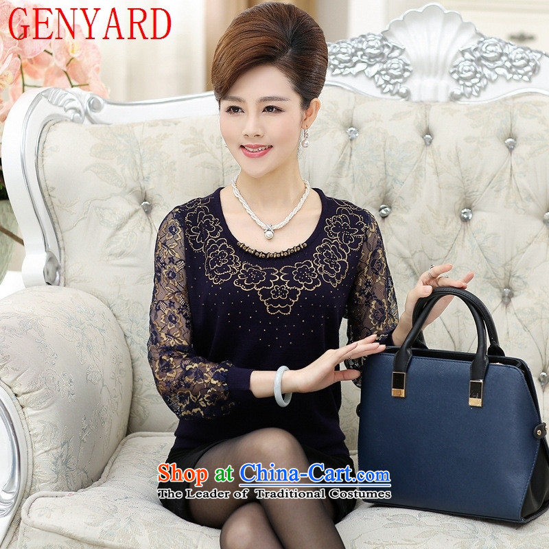The elderly in the new GENYARD2015 autumn Women's clothes loose mother replacing chiffon _ Long-sleeved shirt-sleeves, forming the basis of knitwear XL_ recommendations 115-130 black catties_