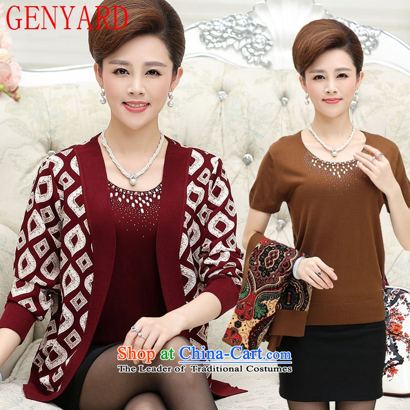 In the number of older women's GENYARD autumn false Two Kit Knitted Shirt of the middle-aged mother Load T-shirt and black large jacket聽M聽recommendations 90-105 catty