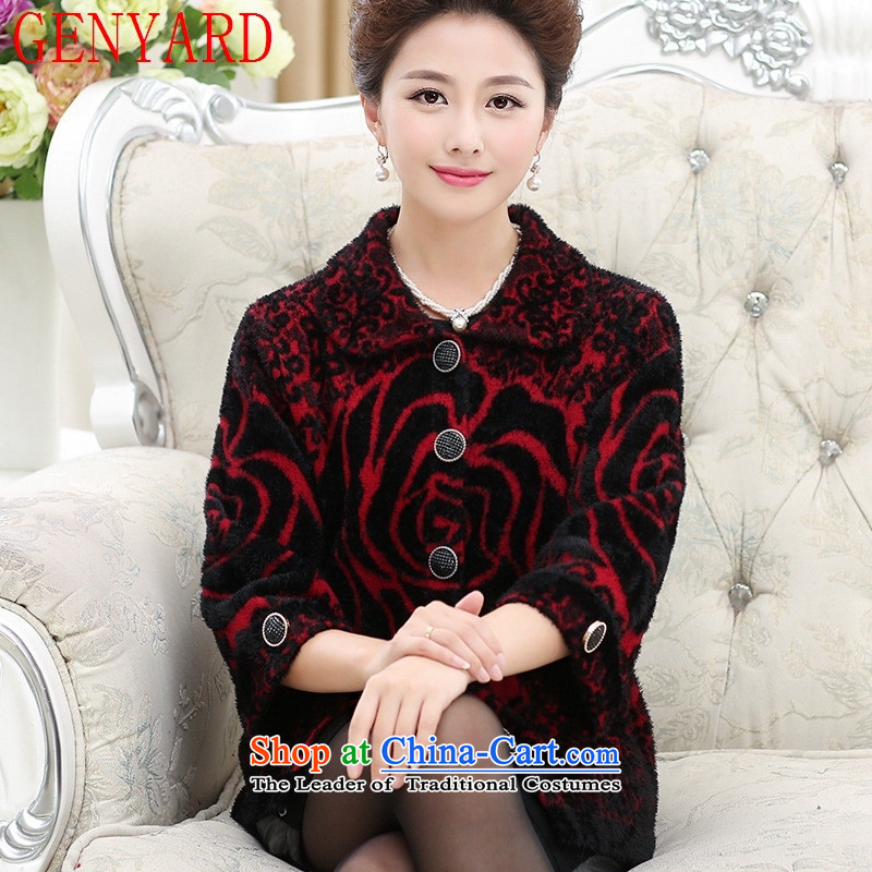 The elderly in the autumn and winter GENYARD female jackets for larger mother replacing sweater cardigan old lady with thick knitwear woolen sweater?3XL Purple