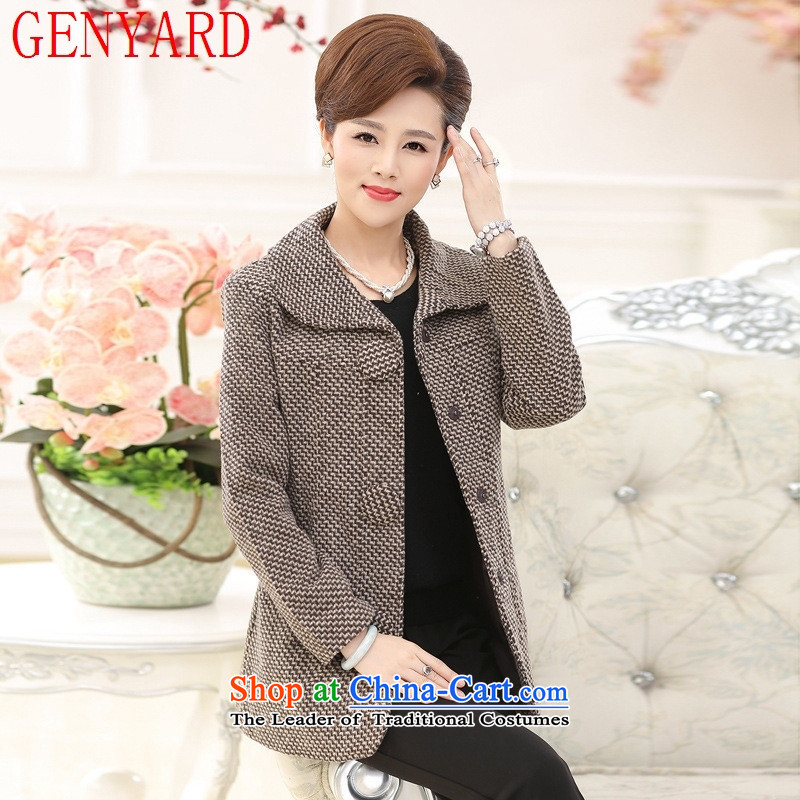 In the number of older women's GENYARD fall inside gross? boxed long jacket mother shirts lapel long-sleeved thick large a khaki?XL