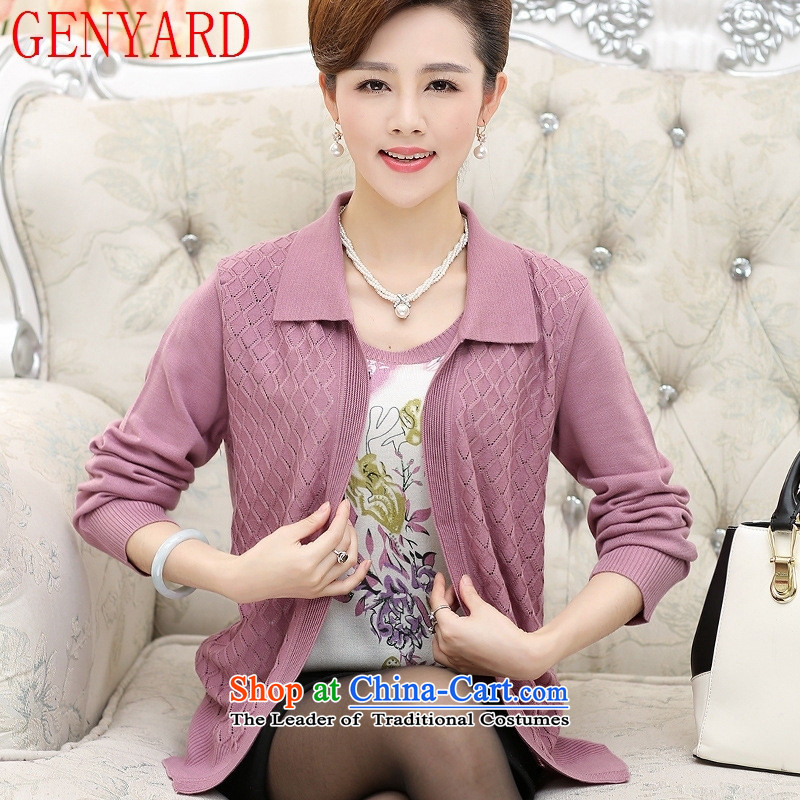 In the number of older women's GENYARD autumn Knitted Shirt Cardigan jacket 40-50-year-old mother with really two kits middle-aged female clothes Yellow 2XL