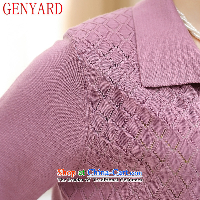 In the number of older women's GENYARD autumn Knitted Shirt Cardigan jacket 40-50-year-old mother with really two kits middle-aged female clothes yellow聽2XL,GENYARD,,, shopping on the Internet