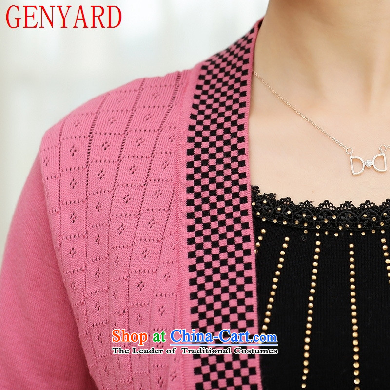In the autumn of the elderly with GENYARD female loose large long-sleeved T-shirt with the middle-aged mother Knitted Shirt leave two part of Red 2XL catty ,GENYARD,,, paras. 135-145 shopping on the Internet