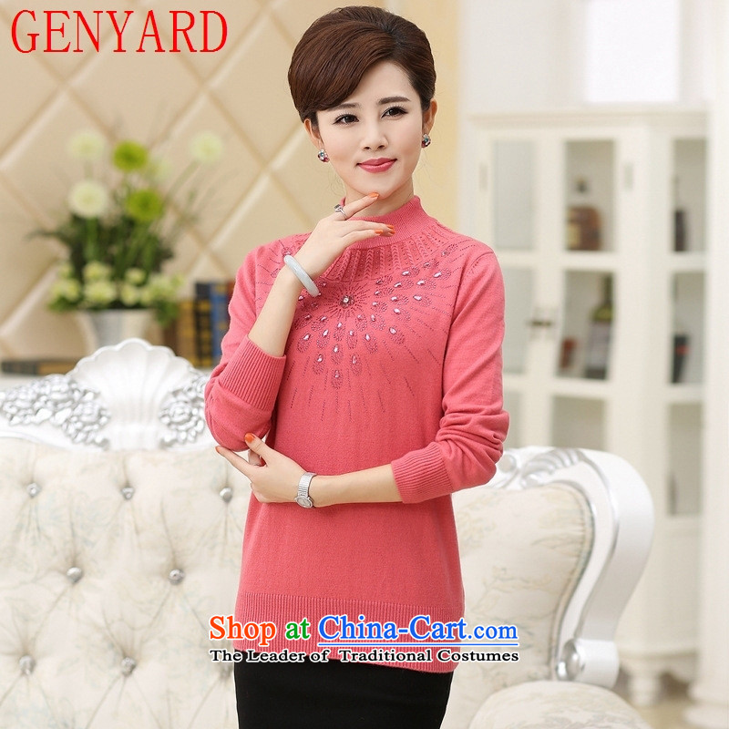 The elderly in a sweater GENYARD Cardigan Girl _ during the spring and autumn replacing middle-aged ladies mother boxed long-sleeved T-shirt with round collar knitted sweaters pink?2XL catty Paras. 135-145
