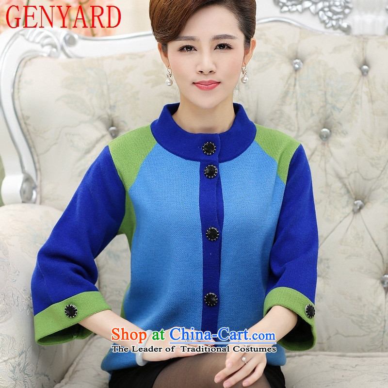 In the number of older women's GENYARD Autumn and Winter Sweater jacket mother loaded thick with large high-collar knitwear cardigan elderly T-shirt blue?L