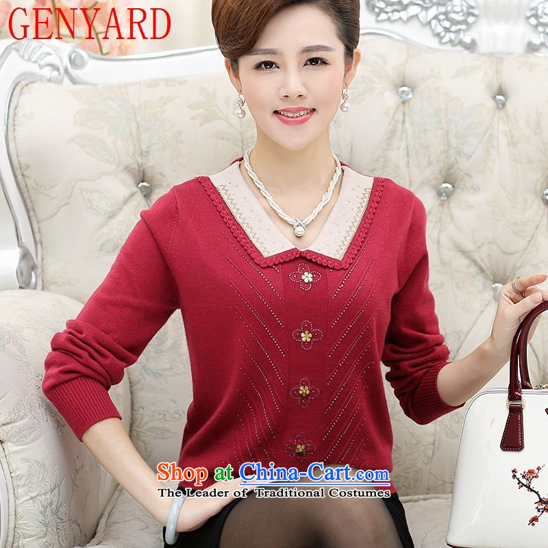 In the number of older women's GENYARD fleece large load on the fall of mother long-sleeved shirt Knitted Shirt, forming the middle-aged female sweater knit sweater pink M
