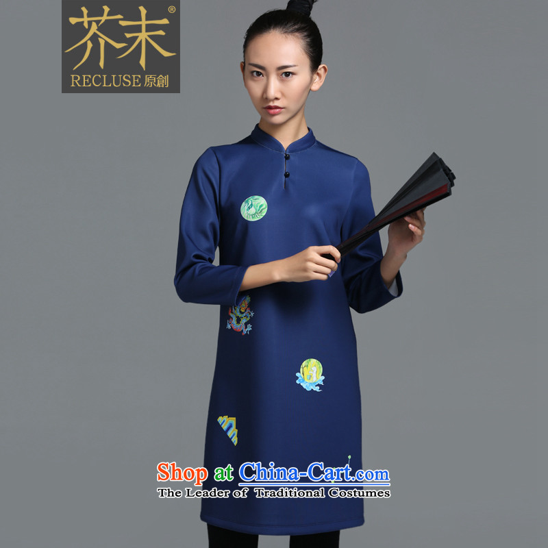 【 mustard original- Chiu-ming_China wind Chinese collar Designer_ dress improved cheongsam dress female autumn and winter new stamp pre-sale L