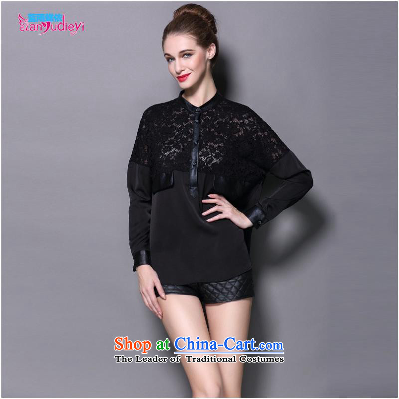 The Secretary for women involved in-store. Women in Europe and America with Ms. Qiu lace forming the Netherlands wild long-sleeved T-shirt leather stitching loose large black T-shirt?L