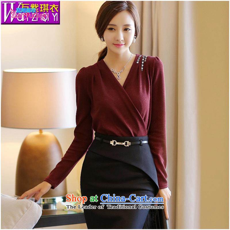 The Secretary for women shop .2015 involving new products fall Korean Couture fashion thin, long-sleeved sexy cross-V-Neck Sweater, forming the women s deep blue T-Shirt