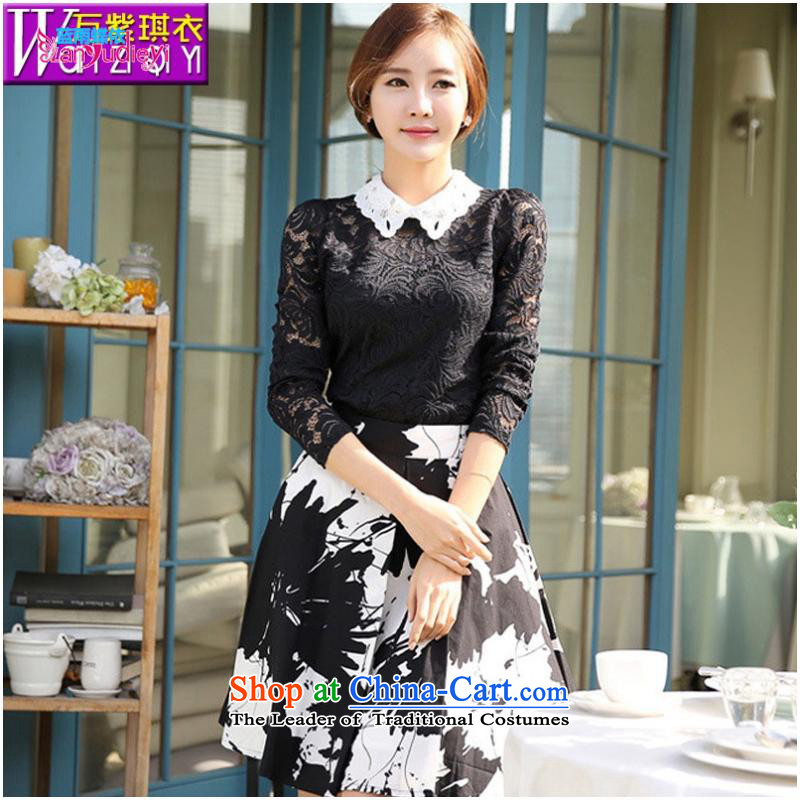 The Secretary for women shop .2015 involving fall of new products and stylish career women dressed dolls, forming the basis for a long-sleeved engraving the Netherlands shirt female lace shirt white?L female