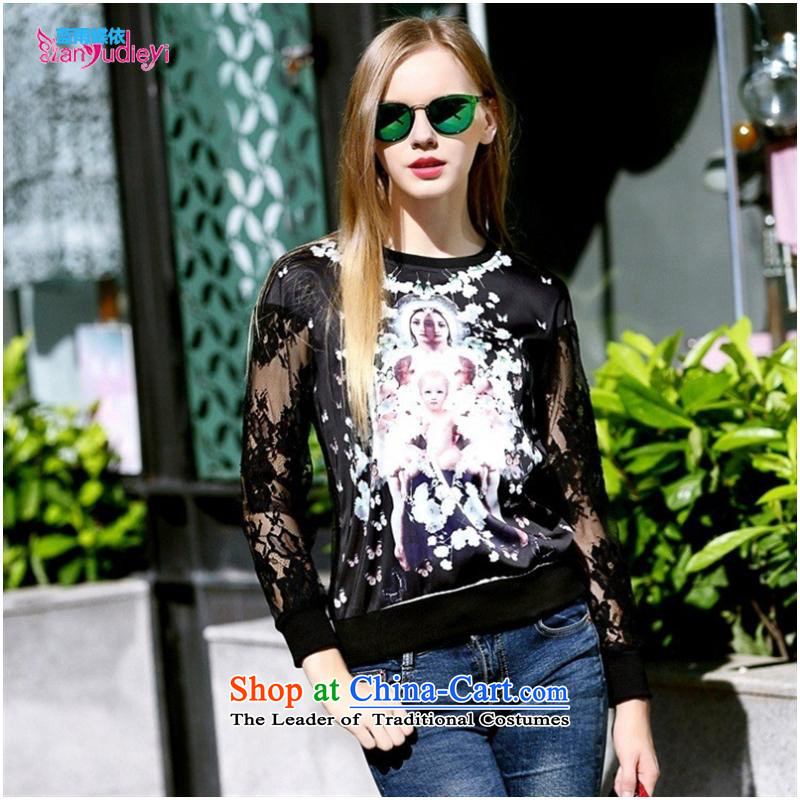 The Secretary for women shop .2015 involving fall of New Female European site stamp sweater round-neck collar engraving gauze long-sleeved shirt Black XL