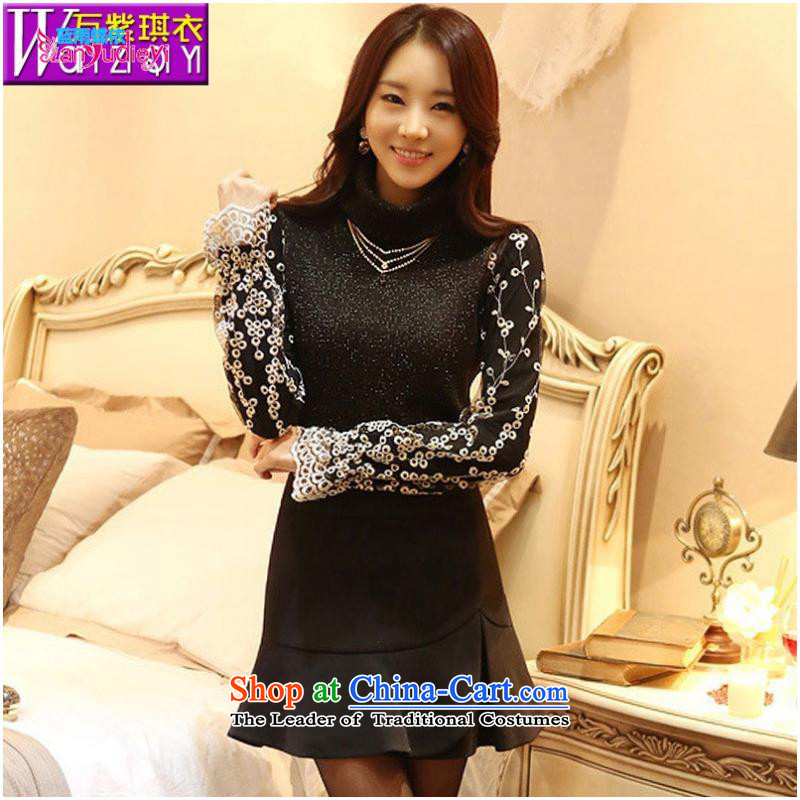 The Secretary for women shop .2015 involving fall of Korean women new boxed long-sleeved check spend long-sleeved shirt, forming the engraving female T-shirt female black?L