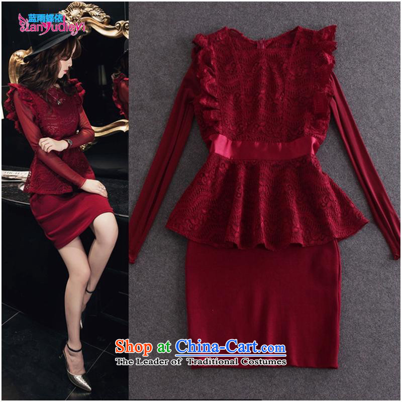 The Secretary for women shop .2015 to load the new Europe and the Autumn Women Lace Embroidery + long-sleeved T-shirt billowy flounces dresses two kits wine red?M