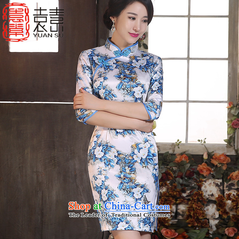 Yuan of cotton聽2015 Autumn load toner qipao improved retro style qipao skirt in new long-sleeved qipao gown_聽color photo ZA9801聽XL