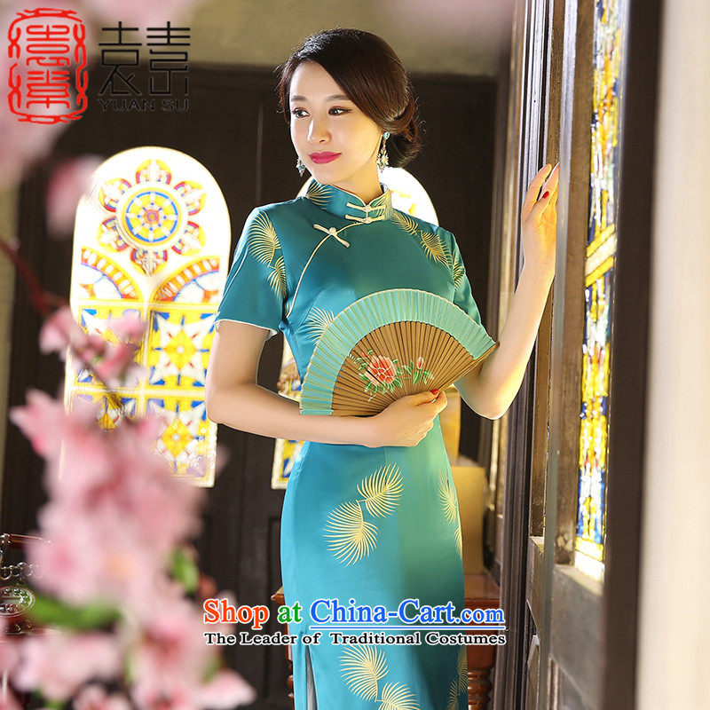 Yuan of聽autumn 2015 installed wind cheongsam long retro improvements in the skirt qipao long skirt cheongsam dress qipao Ms.聽ZA9802聽picture color聽L