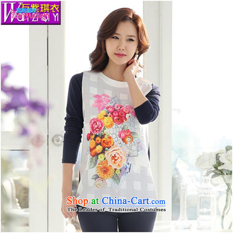The Secretary for women involved shop .2015 autumn and winter new Korean Style Boxed Baihua stamp relaxd mother larger women wear shirts female T-shirt picture color�S