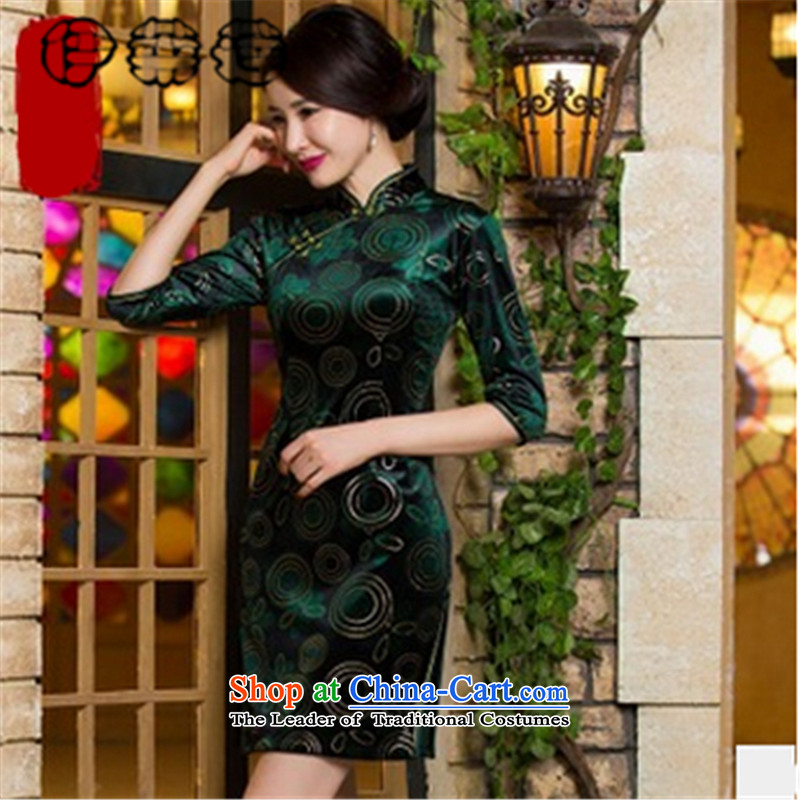 Hirlet Ephraim Fall 2015 new elegant ladies video thin stylish retro short-sleeved gray velour robes, skirts pattern China wind Sau San video temperament qipao�XXXL green