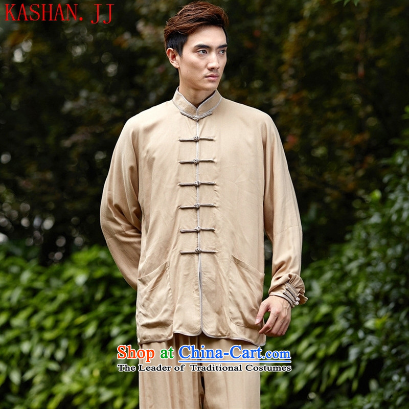Mano-hwan's men Tang dynasty kit 2527-1_ kung fu shirt collar new ethnic Han-Tang dynasty, beige kit 06 XXSTOXL_