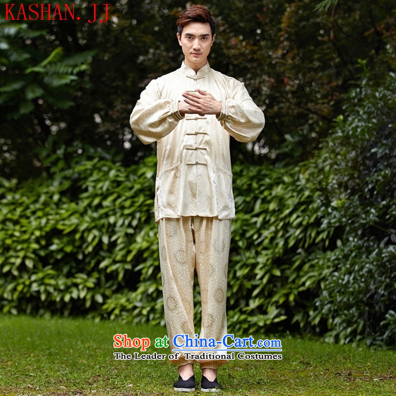 Mano-hwan's men Tang dynasty kit 2526-7) kung fu shirt collar new ethnic Han-Tang dynasty men in lung beige kit 01 XXXL
