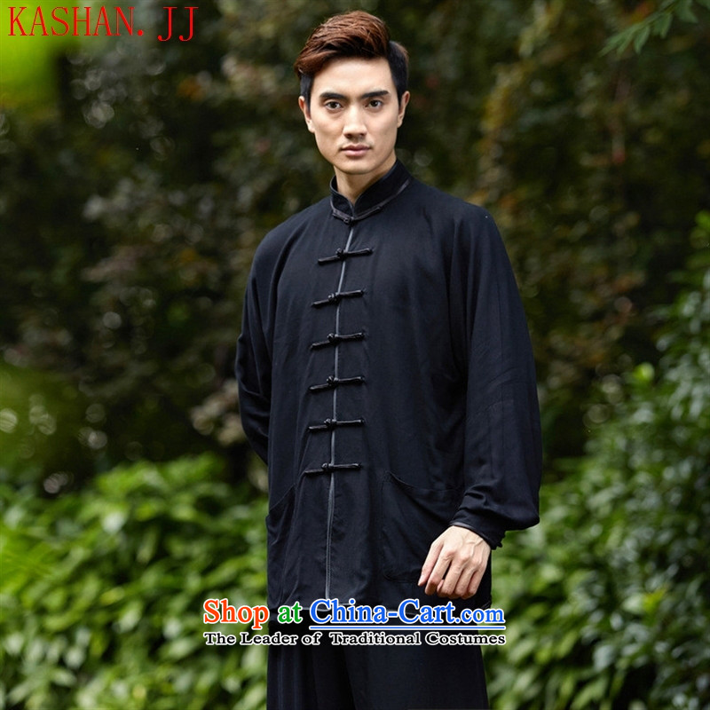 Mano-hwan's men Tang dynasty kit 2527-2_ Kung Fu Tai Chi Kit shirt collar ethnic Han-tang replacing men black 02 M