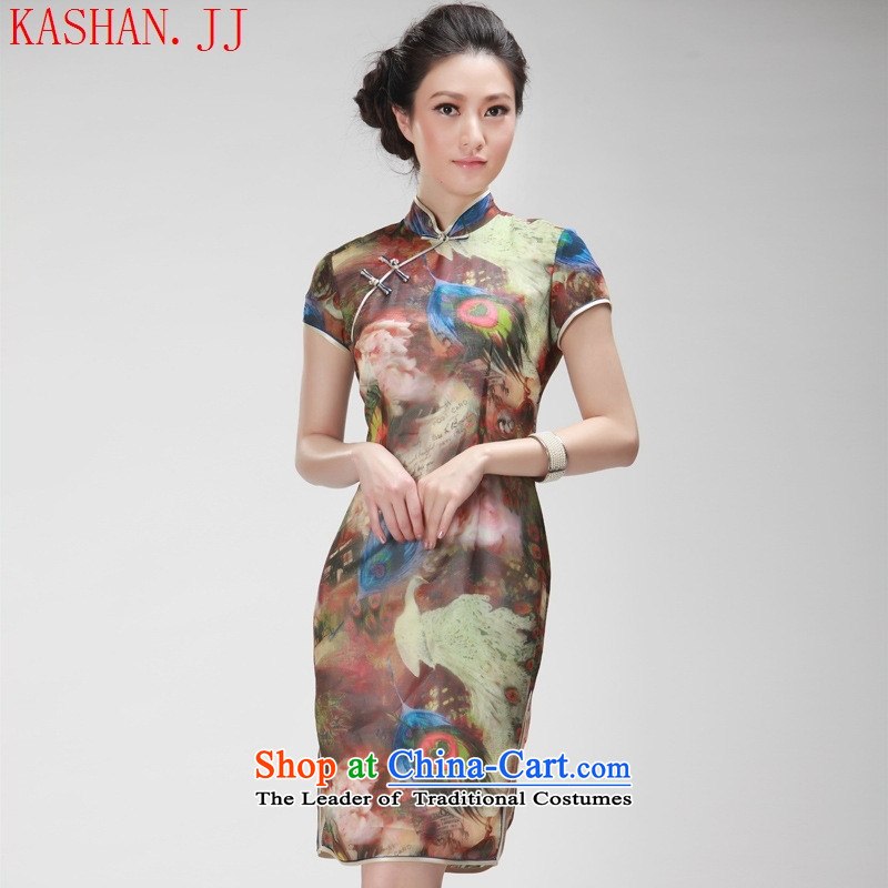 Mano-hwan's new president summer stylish improved national wind retro cheongsam dress daily qipao khaki聽M