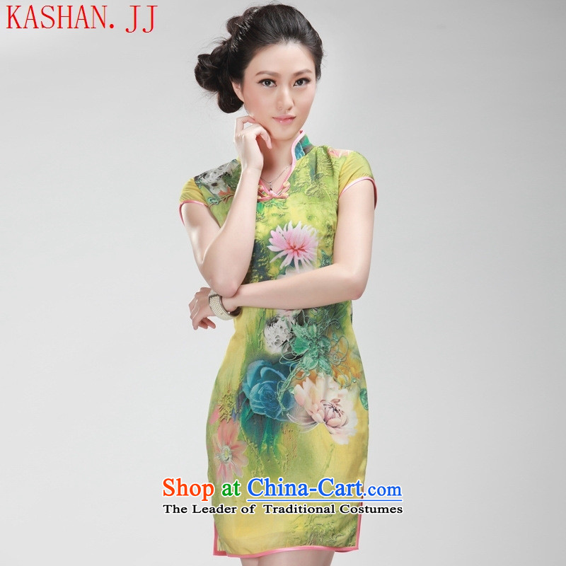 Mano-hwan's summer new Stylish retro improved silk cheongsam dress qipao daily Yellow?M