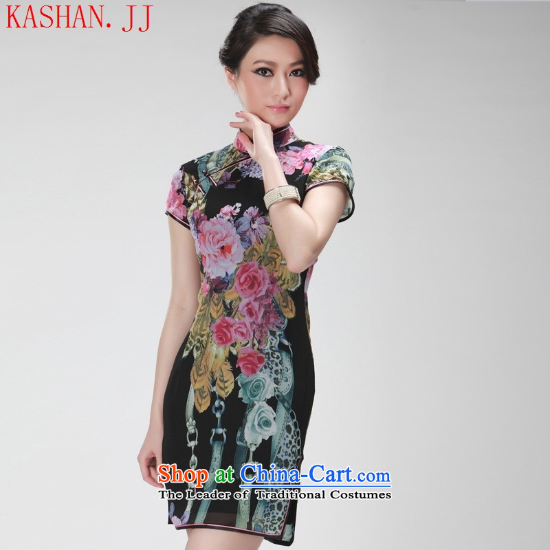 Mano-hwan's summer Ms. new improved cheongsam dress stylish cheongsam dress short-sleeved black summer female?M