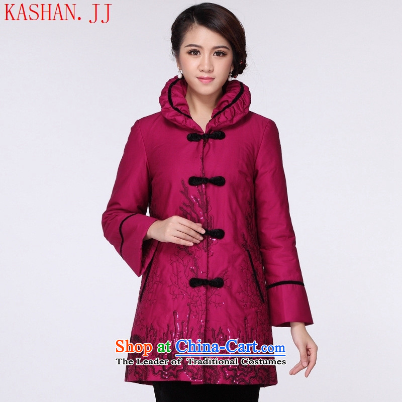 Mano-hwan's new National wind Ms. stylish Tang dynasty autumn and winter coat cotton coat in the Chinese long robe jacket in red?XL