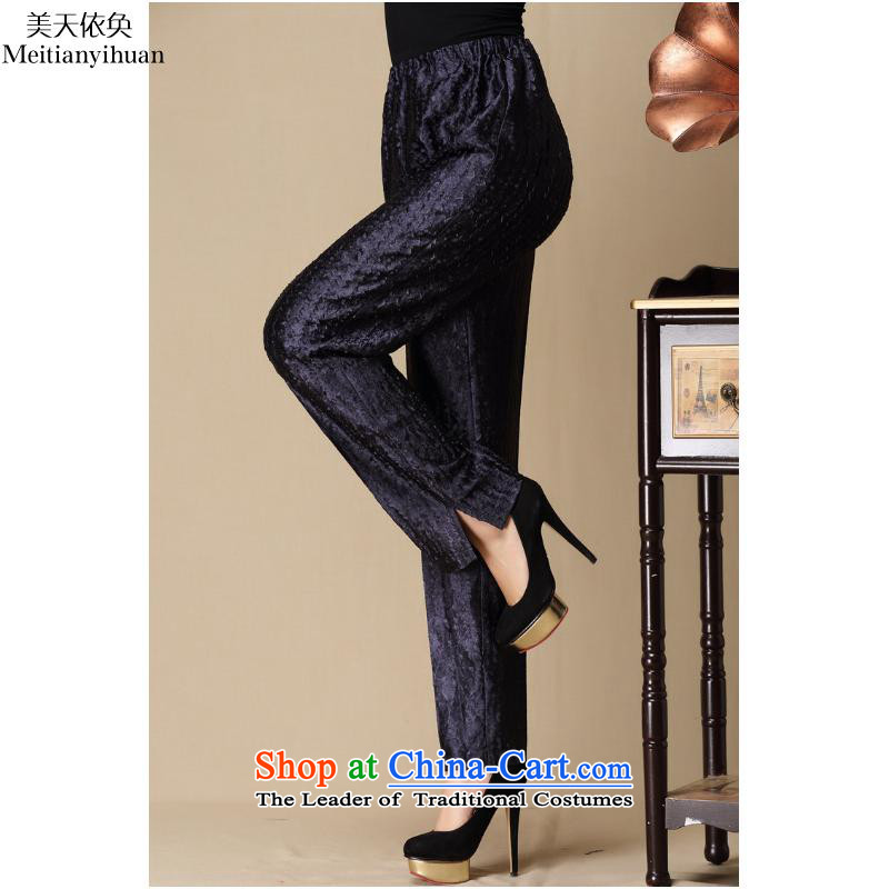 In Tang Dynasty older population pressure folds emulation mother-loose trousers FZ325 black L