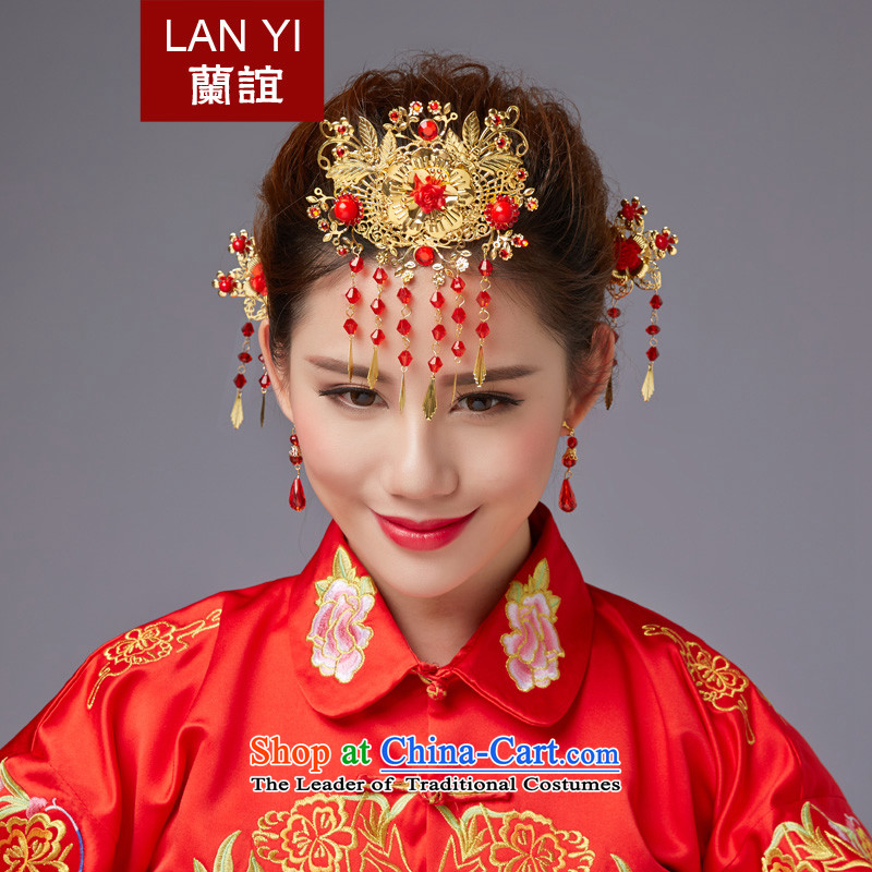 The Friends of ancient headdress flow Su Feng crown for international Chinese qipao-soo marriage Wedding Gifts Wo Service hates makeup and accessories red edging headdress autumn New Products