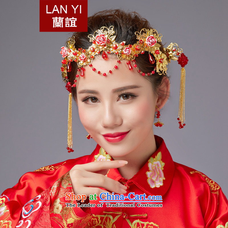 The Friends of ancient headdress flow Su Feng crown for international Chinese qipao-soo marriage Wedding Gifts Wo Service hates makeup and accessories red edging headdress earrings 5 piece set new